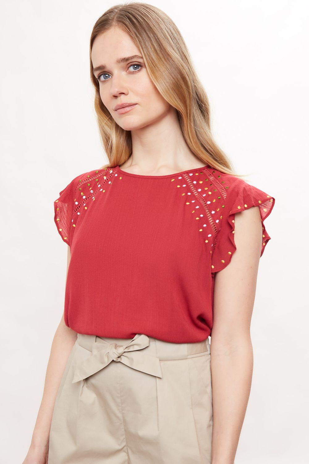 Louche Yamine Embroidery Frill Sleeve Top Red