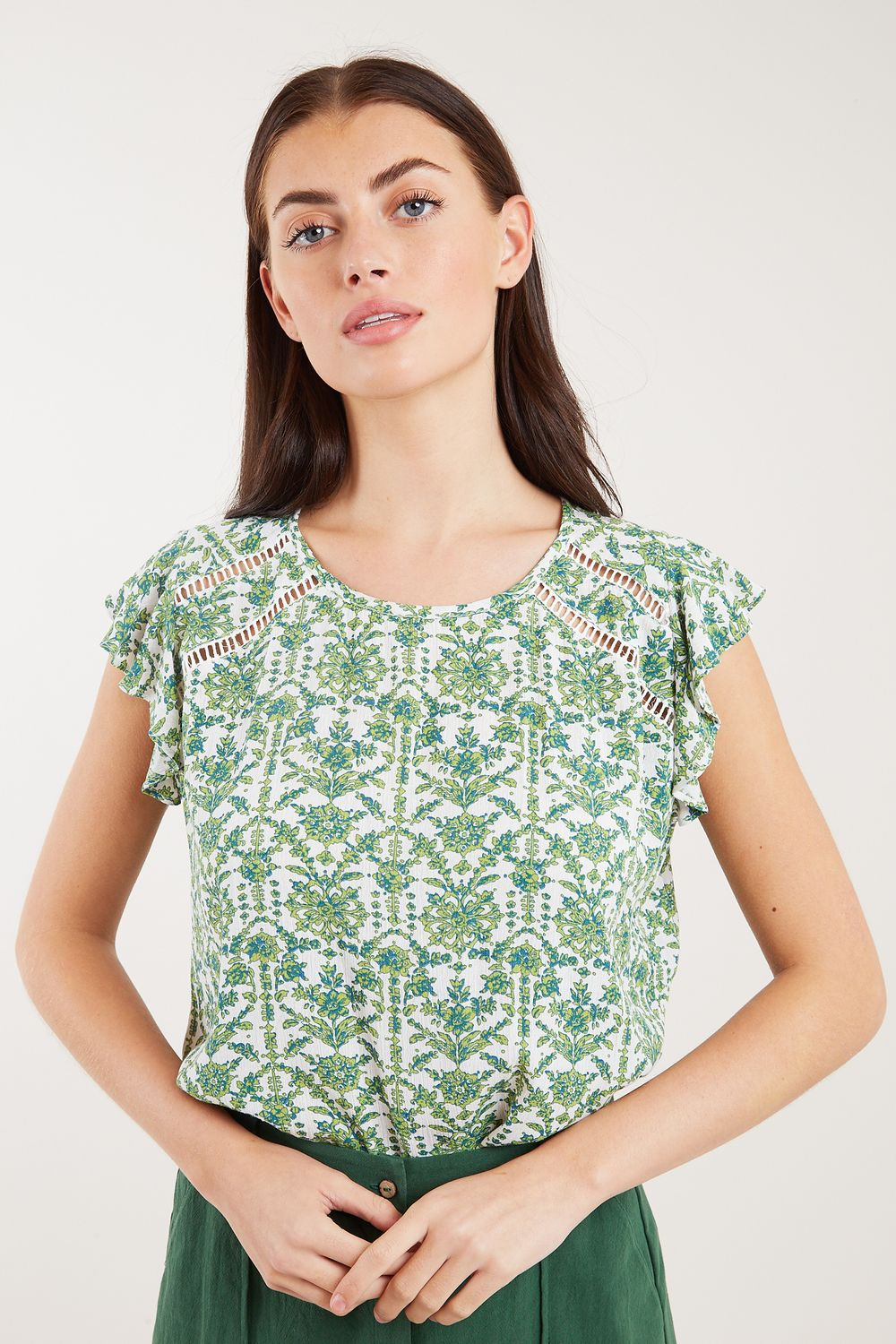 Louche Yamine Porcelain Frill Sleeve Top Green