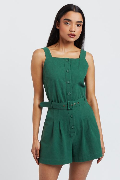Louche Francesca Playsuit Green