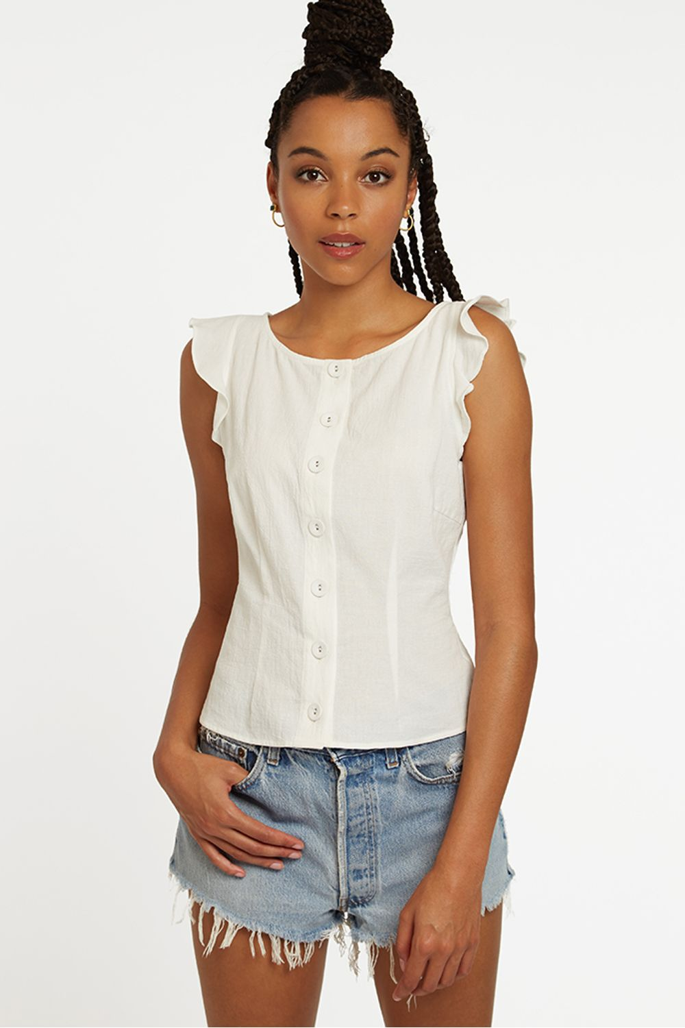 Louche Evane Button Front Frill Sleeve Top