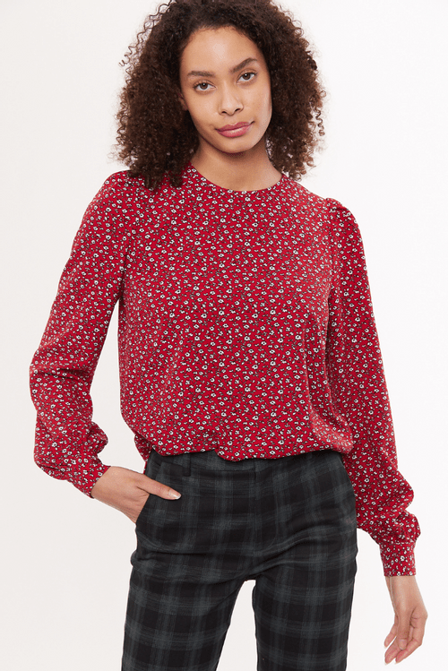 Louche Lima Forget Me Not Print Long Sleeve Blouse Red