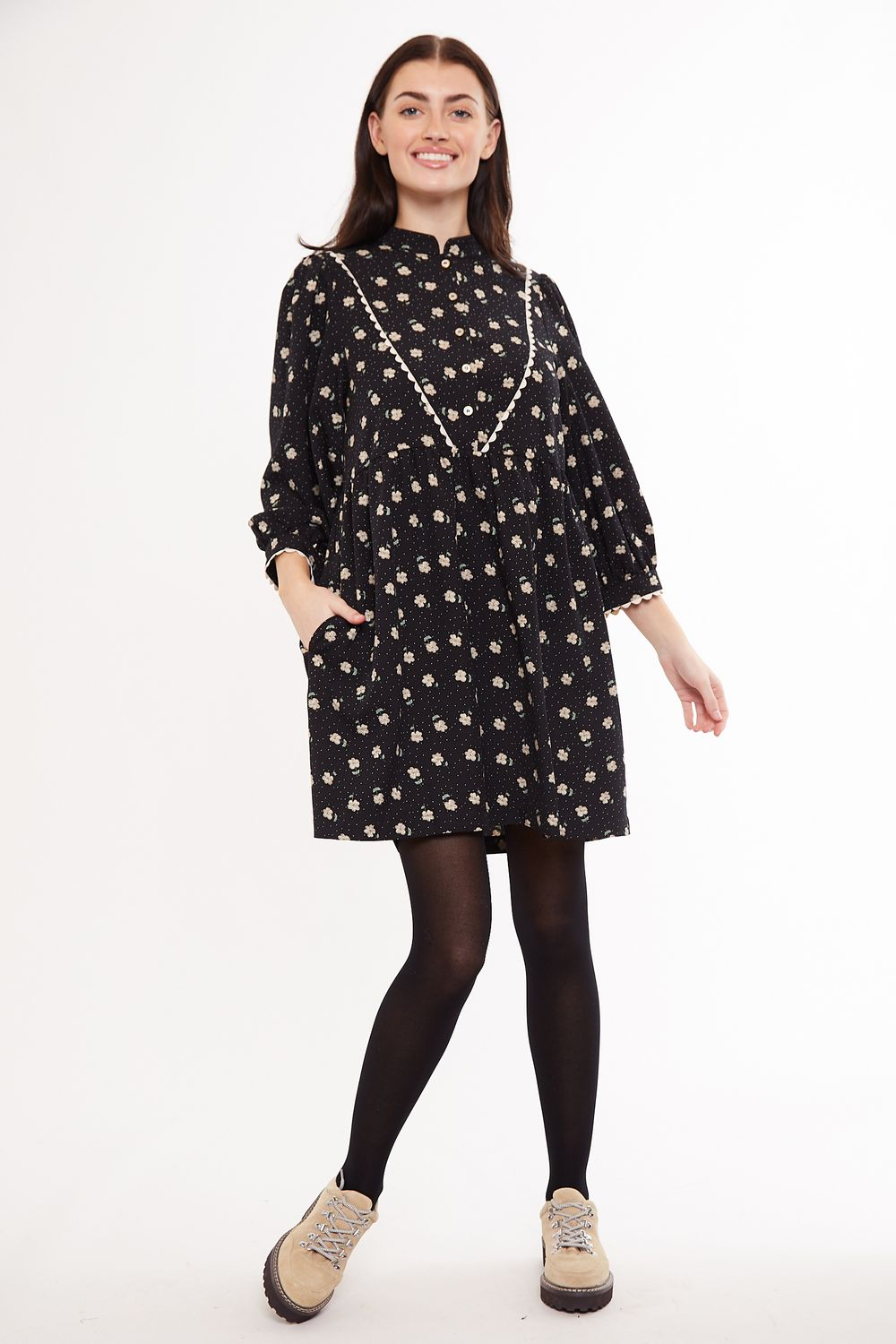 Louche Suzanne Anemone Print Tiered Long Sleeve Dress