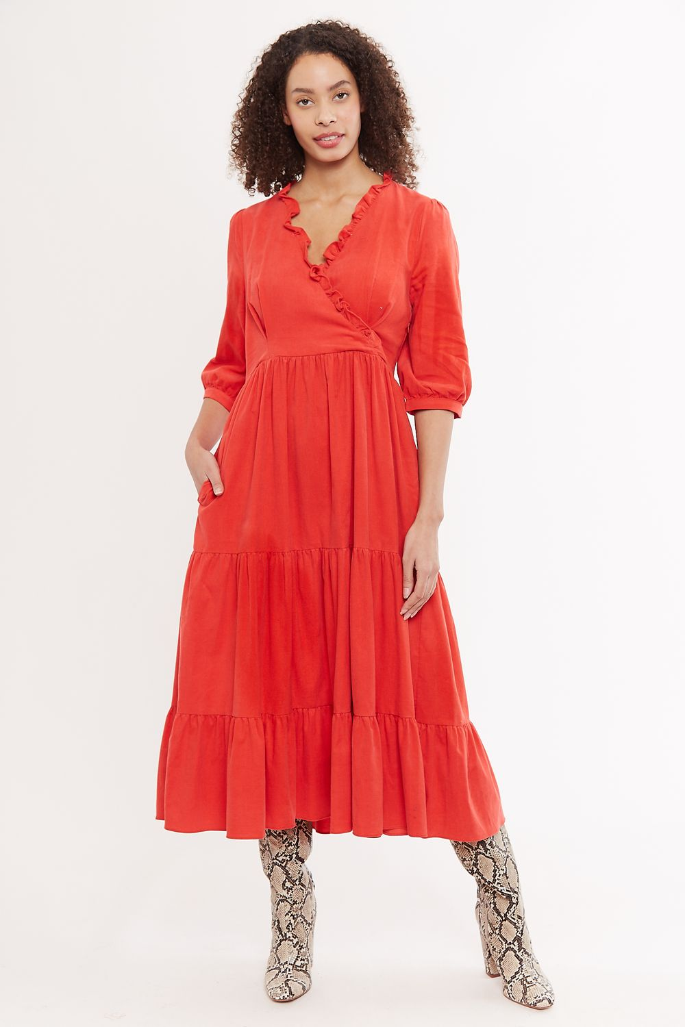Louche Abeline Baby Cord V Neck Tiered Midi Dress Red